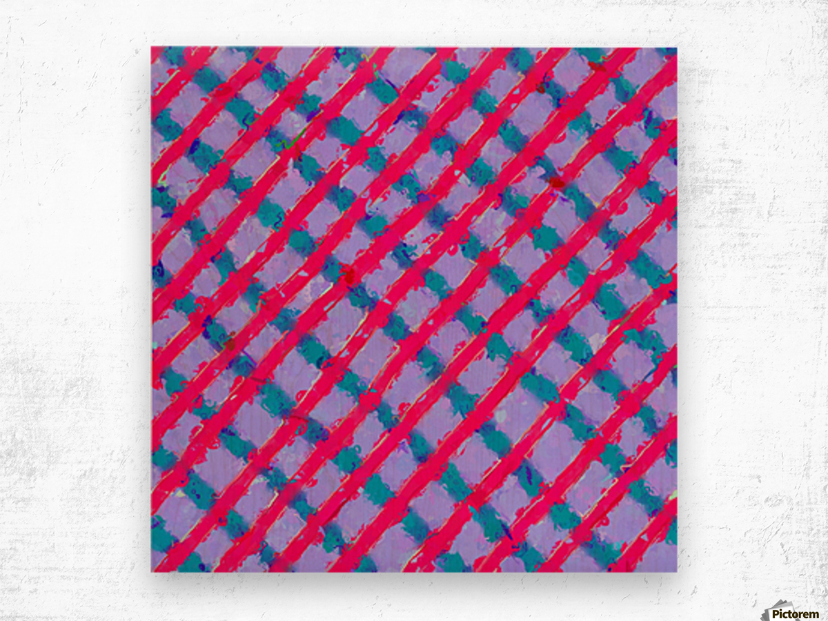 line pattern painting abstract background in red purple blue Wood print
