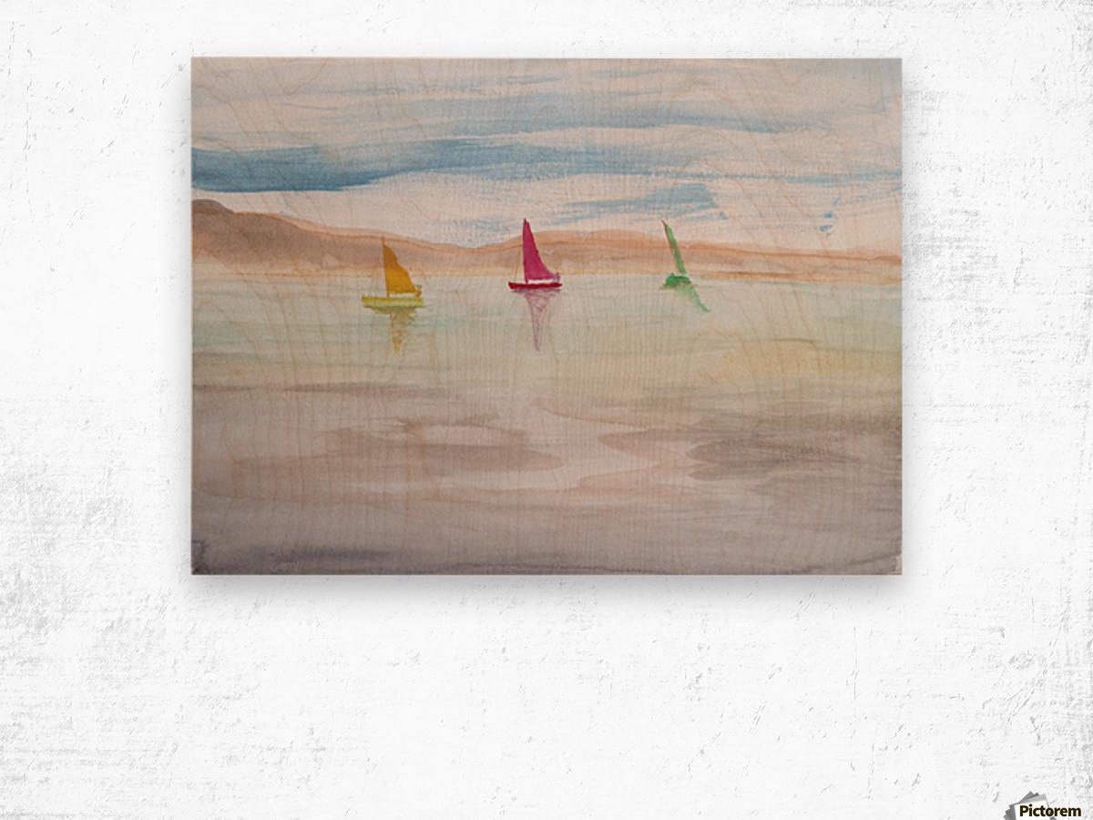 Three sailboats. Wood print