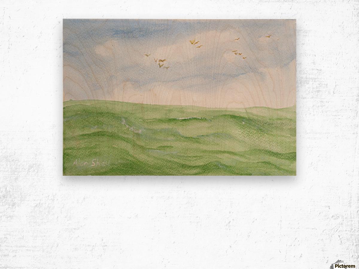 Birds over the ocean. Wood print