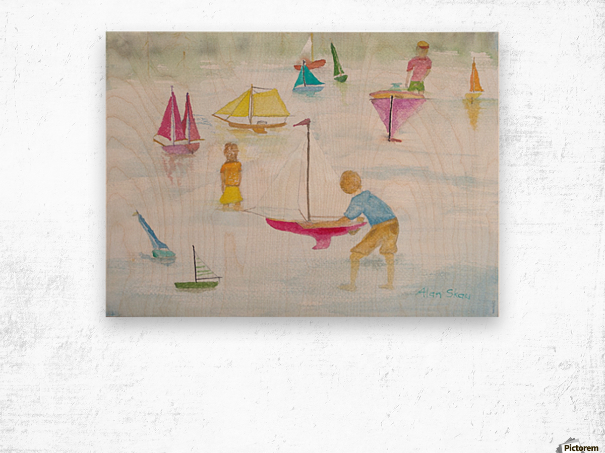 Children playing with sailboats. Wood print