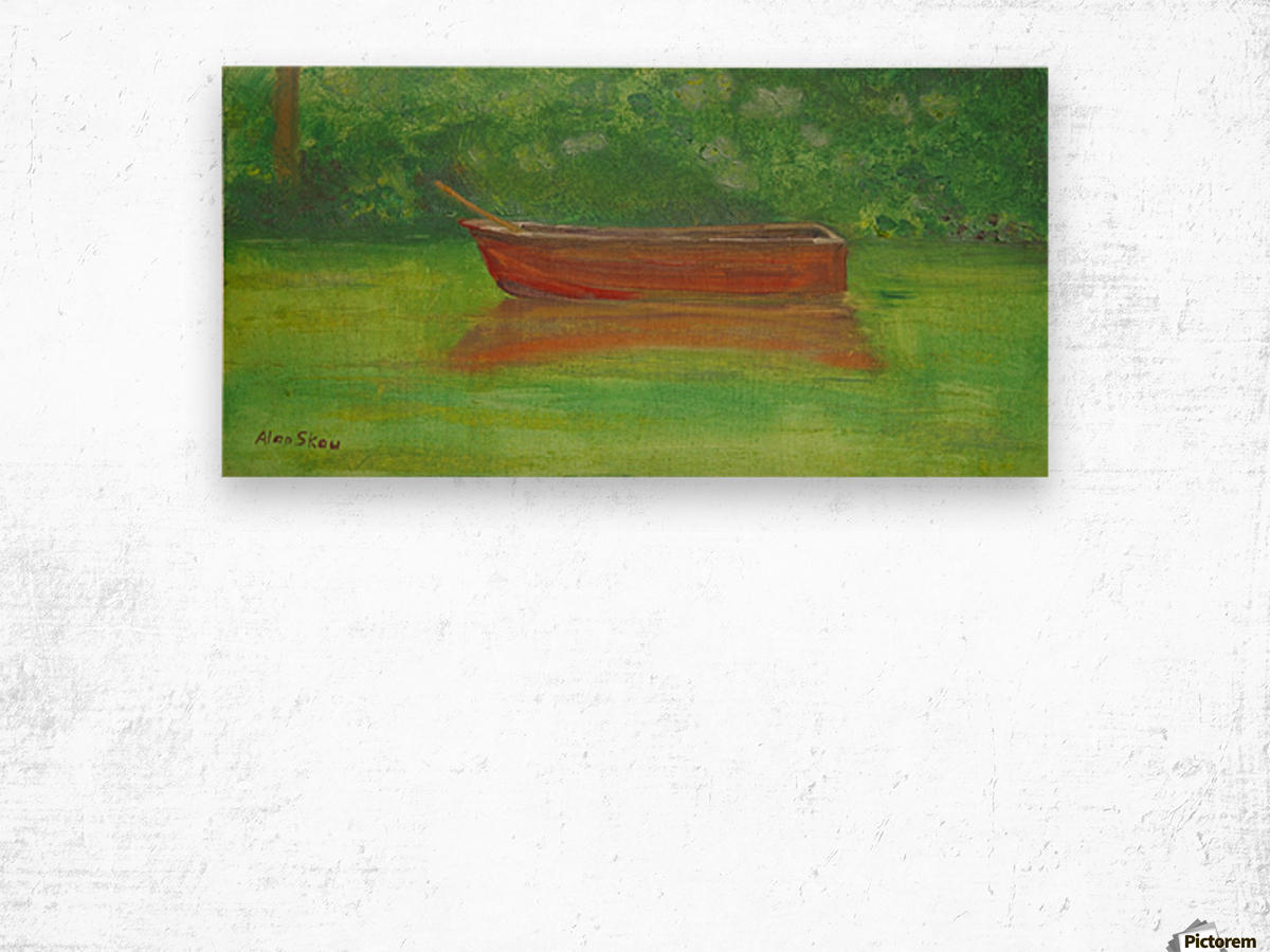 Rowboat drifting. Wood print