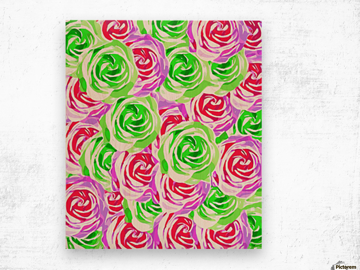 closeup rose pattern texture abstract background in pink red green Wood print