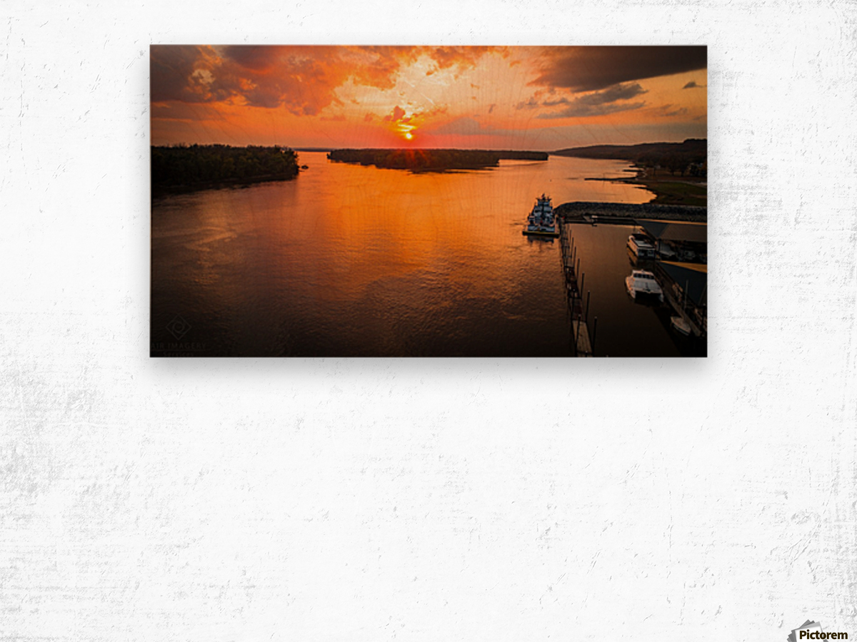 Grafton, IL River Sunset Wood print