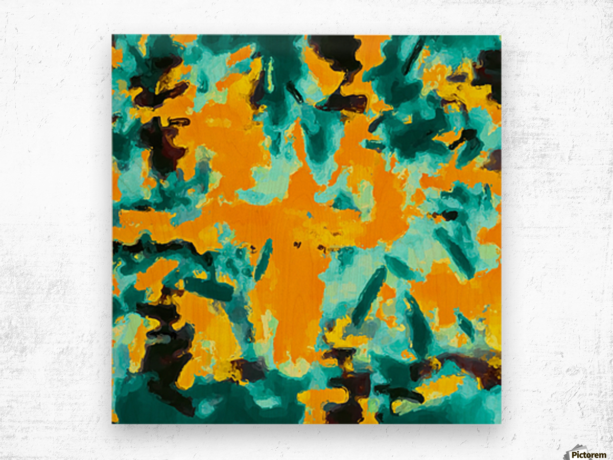 splash painting texture abstract background in green and orange Wood print