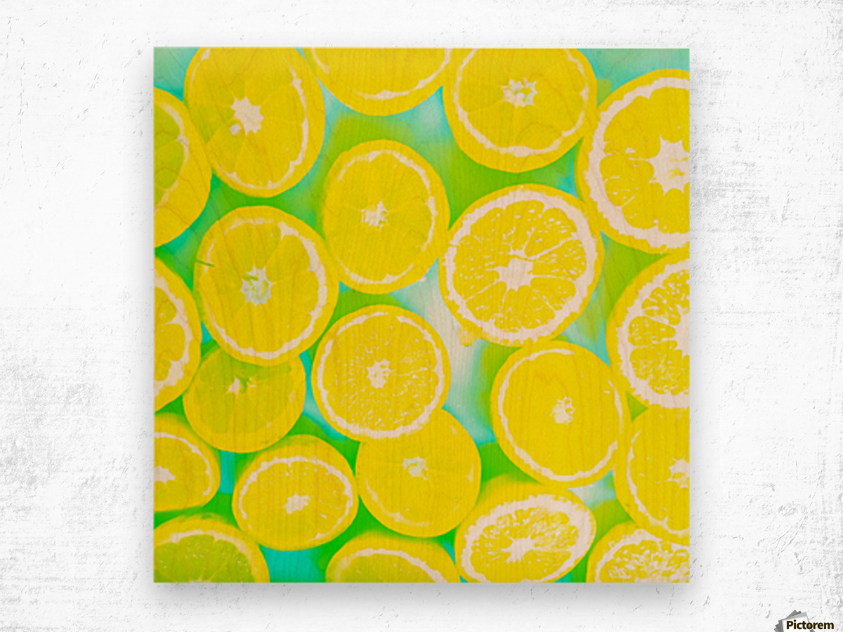 juicy yellow lemon pattern abstract with green background Wood print