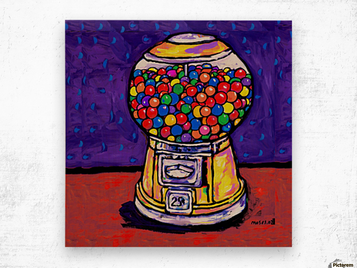BUBBLE GUM MACHINE Wood print