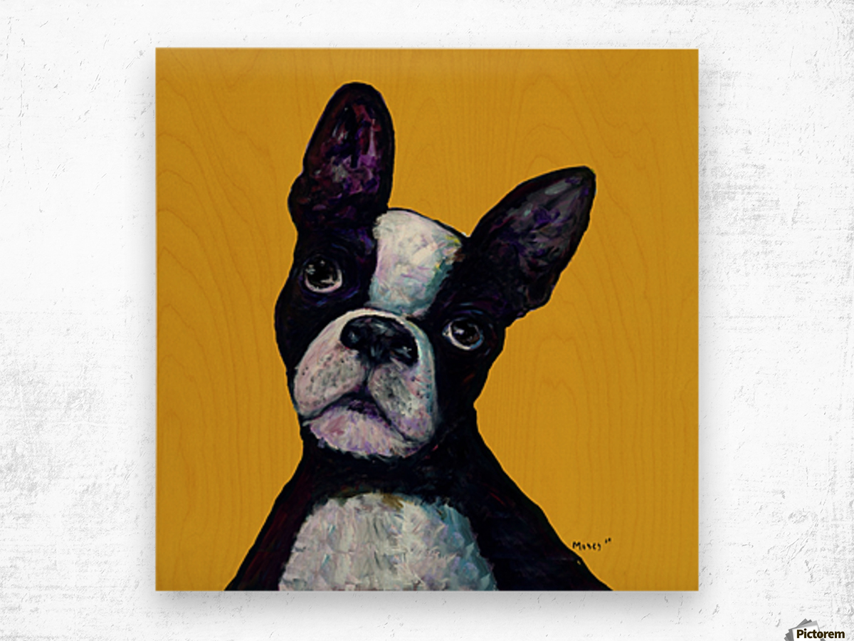 BOSTON TERRIER ON YELLOW Wood print