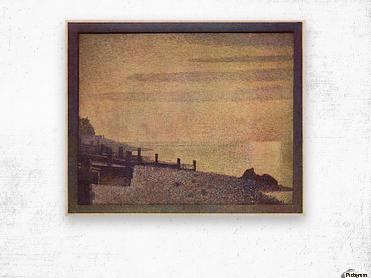 The mouth of the Seine at Honfleur, evening by Seurat Wood print