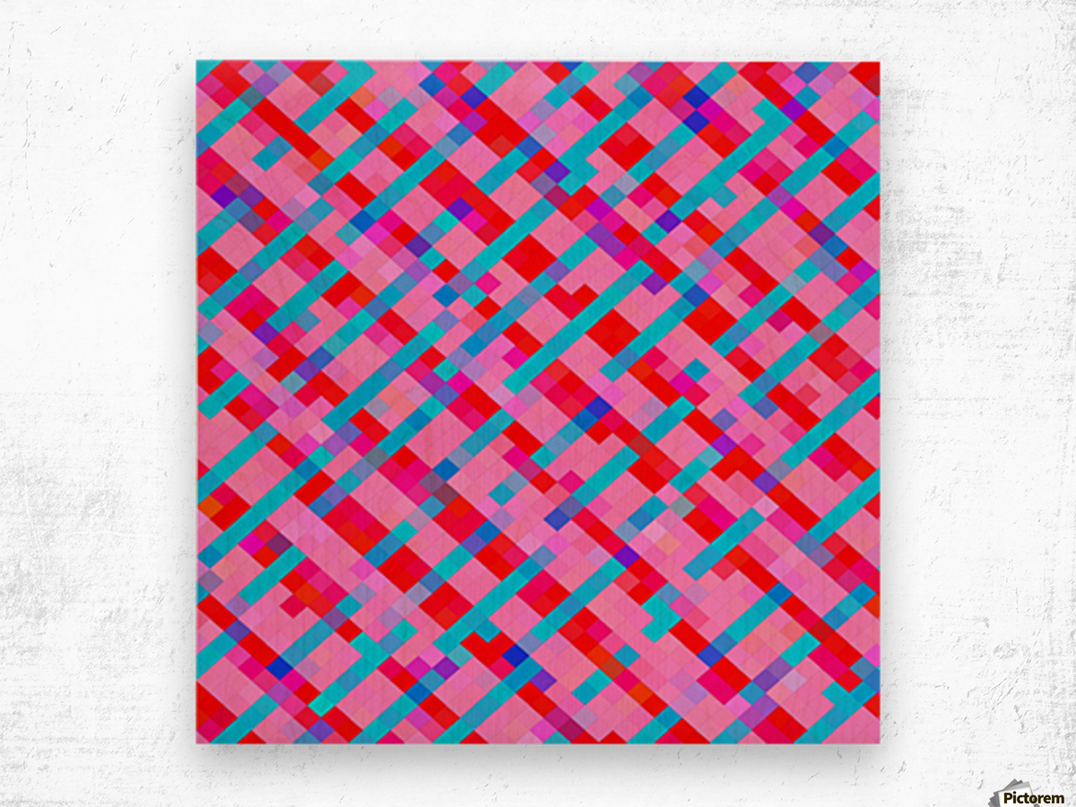 geometric pixel square pattern abstract background in pink blue red Wood print