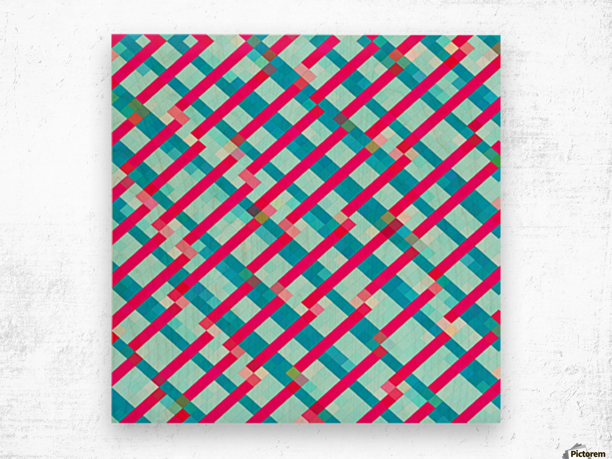 geometric pixel square pattern abstract background in blue pink Wood print