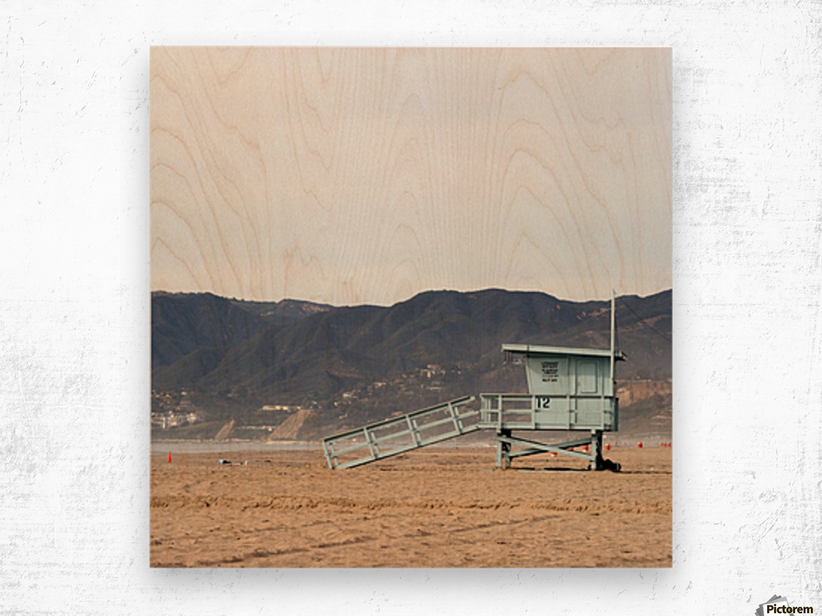 Lonely Lifeguard Tower at Beach Wood print