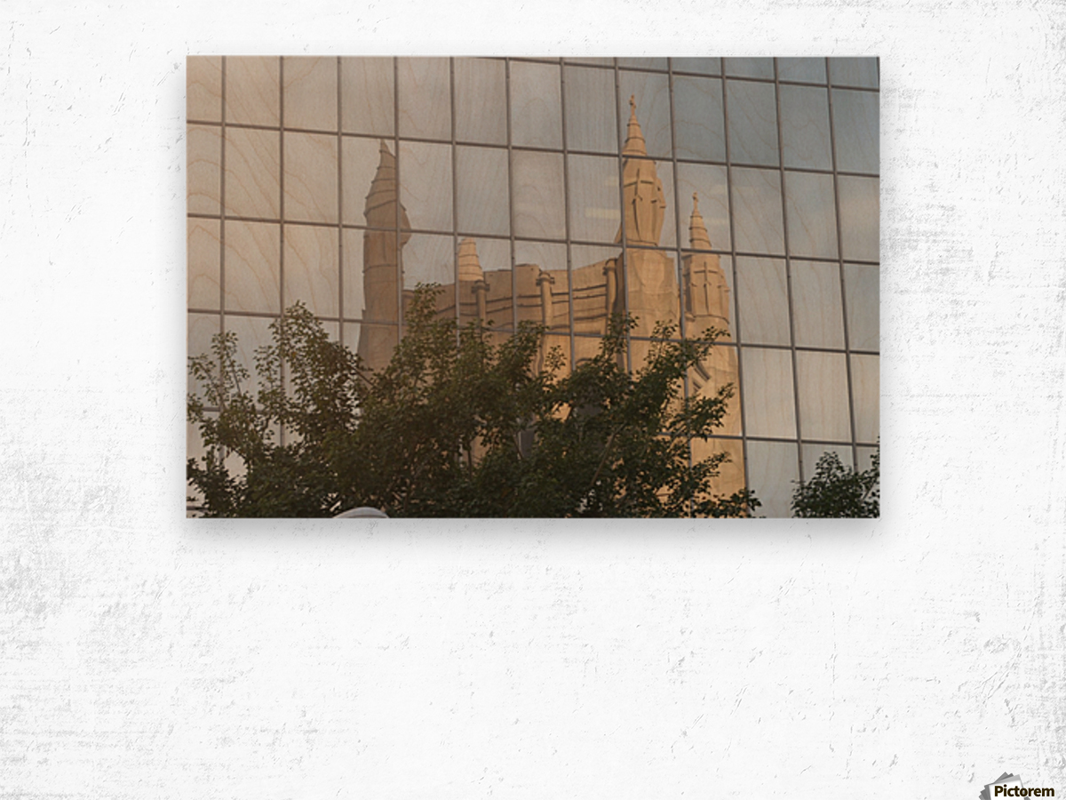 Reflection of Church Building Wood print