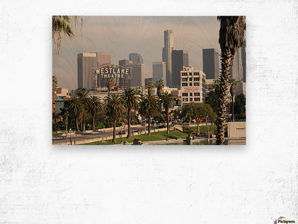 Westlake Theater to Los Angeles Wood print