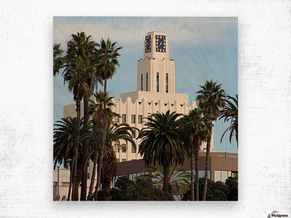 Clock Tower and Palm Trees Wood print