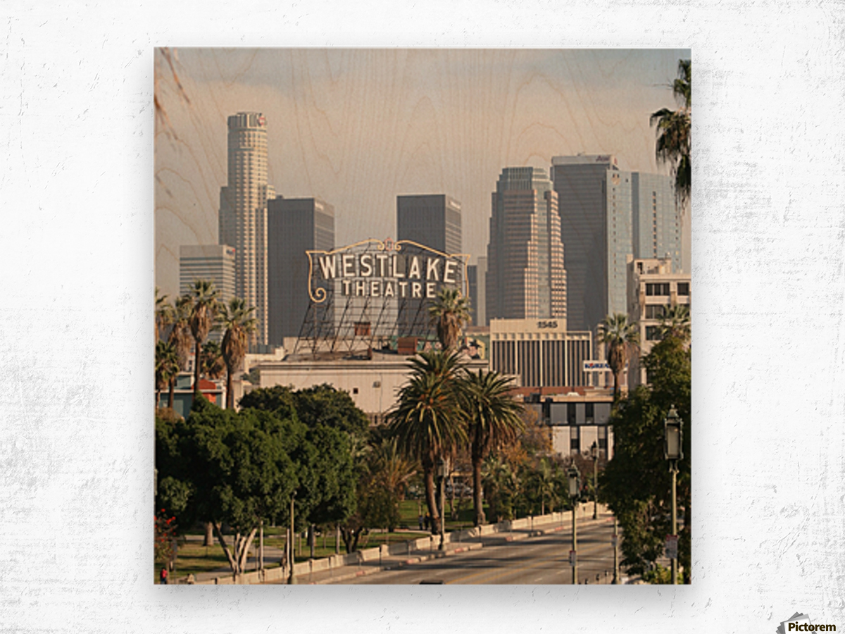 Westlake Theater to Los Angeles - Square Wood print