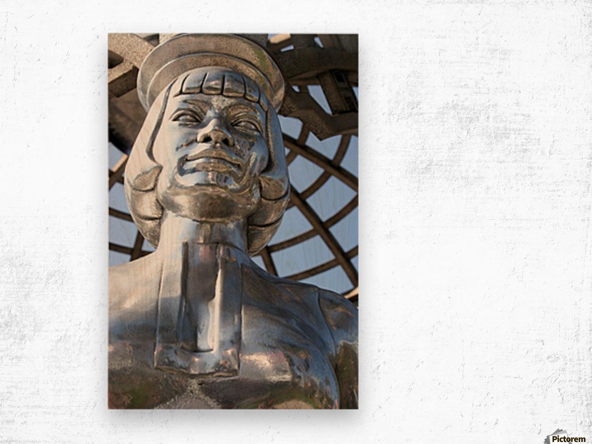 Silver Statue Face of Anna May Wong Wood print