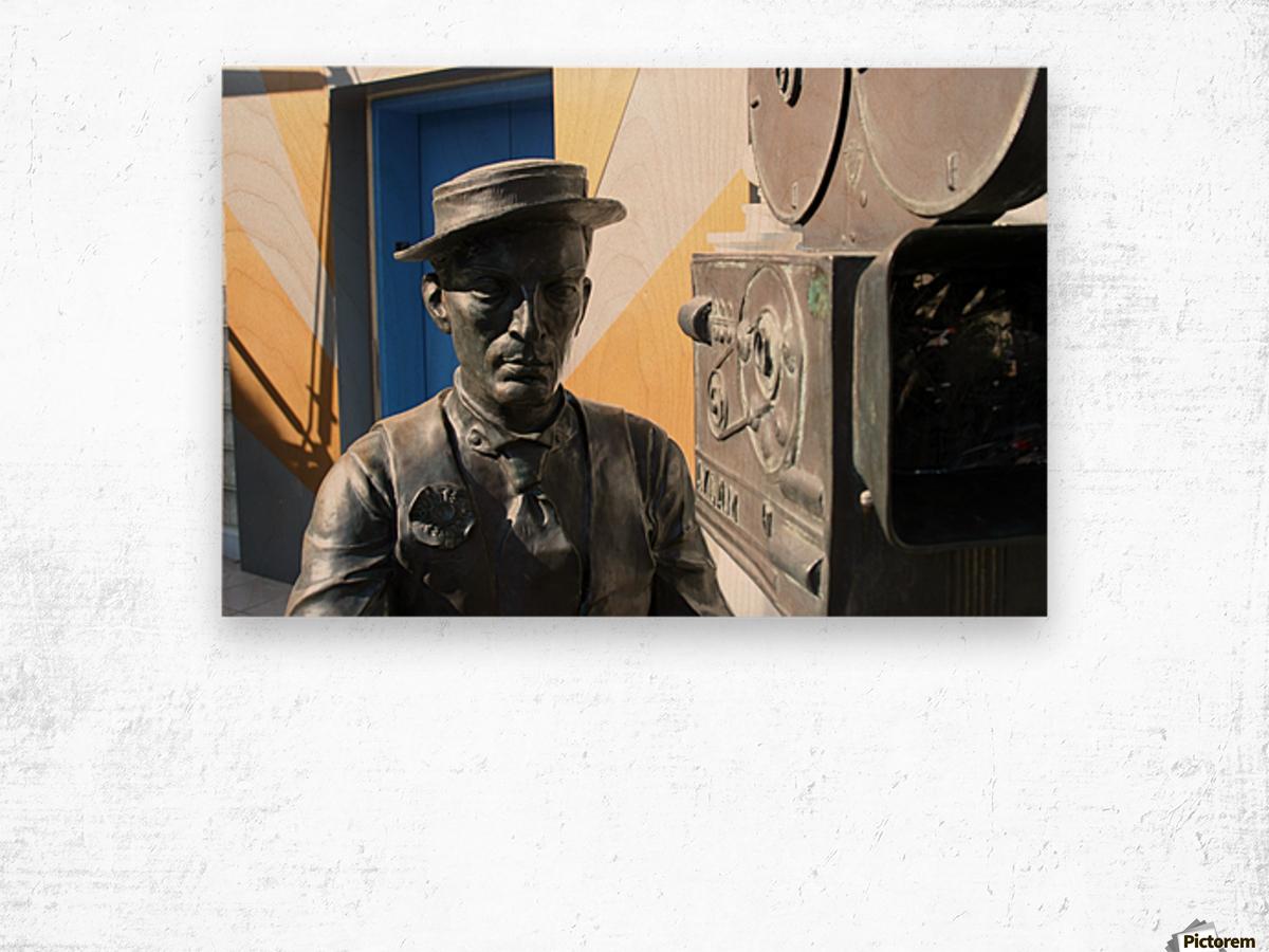 Buster Keaton Statue Wood print