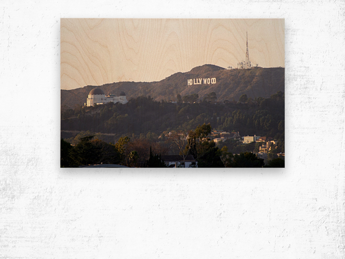Hollywood Hills with Griffith Park Observatory Wood print