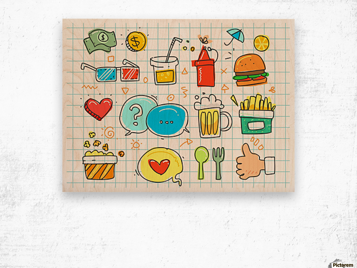 colorful doodle Wood print
