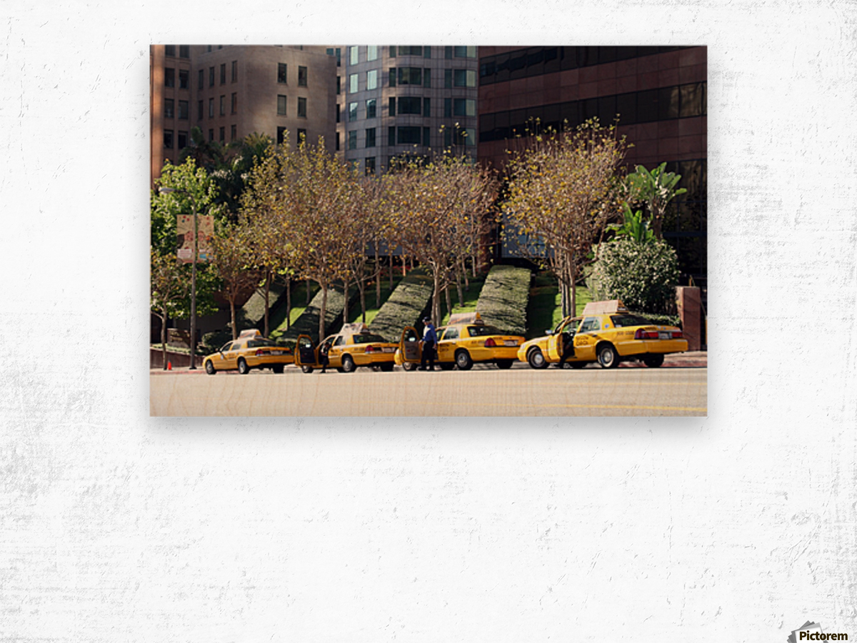 Four Taxis Four Trees Wood print