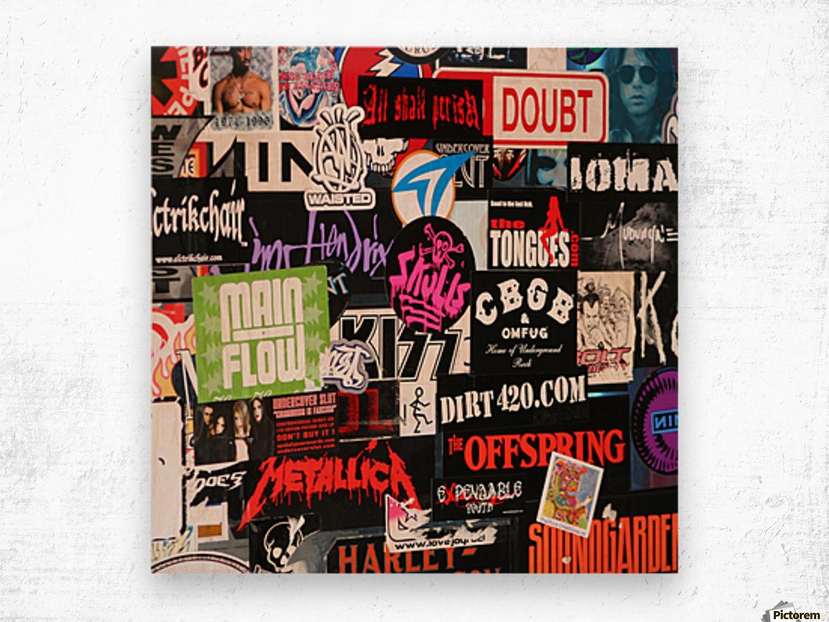 Rock & Roll Stickers Wood print