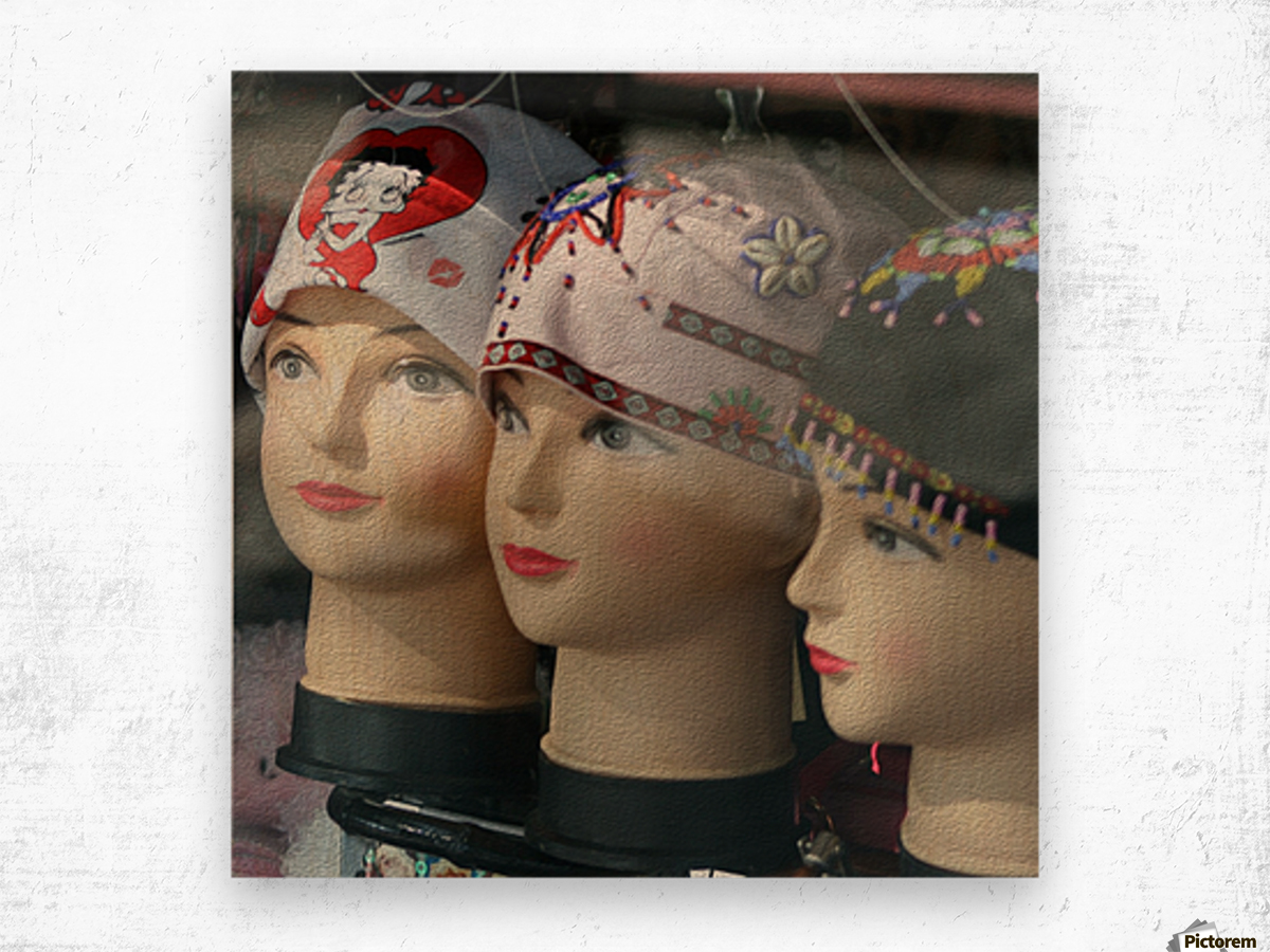 Three Mannequin Heads with Bandanas Wood print