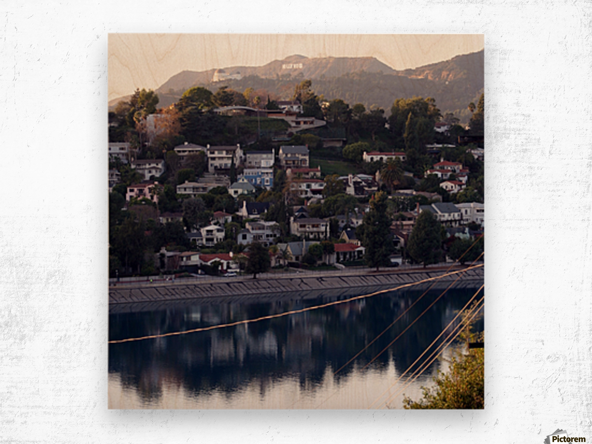 Silver Lake Reservoir with Griffith Observatory Wood print