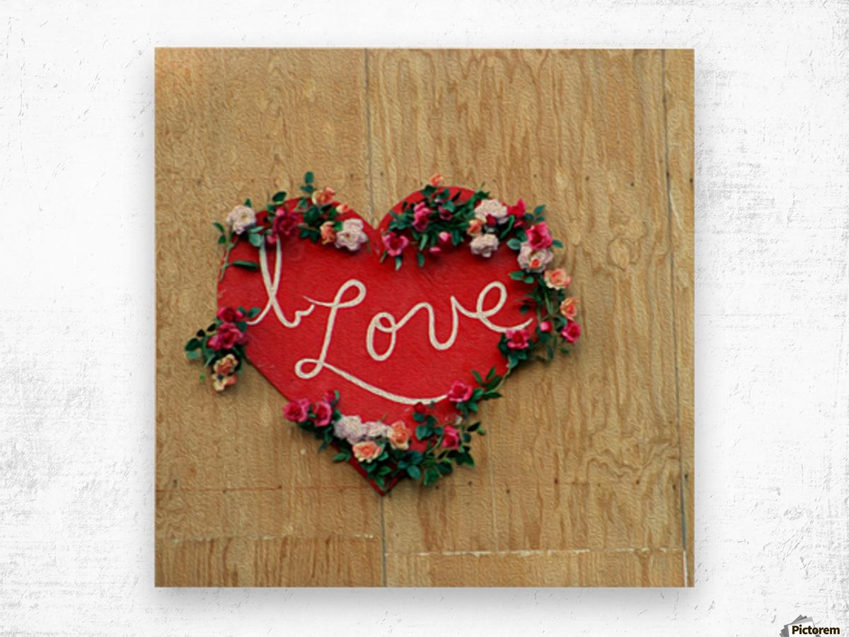 I love Heart - Square Canvas Print Wood print