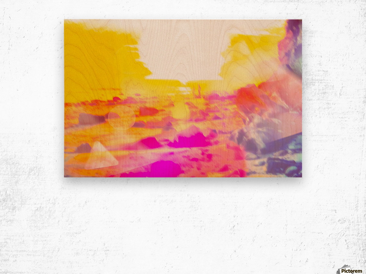 summer sunset at the beach with summer bokeh light abstract Wood print