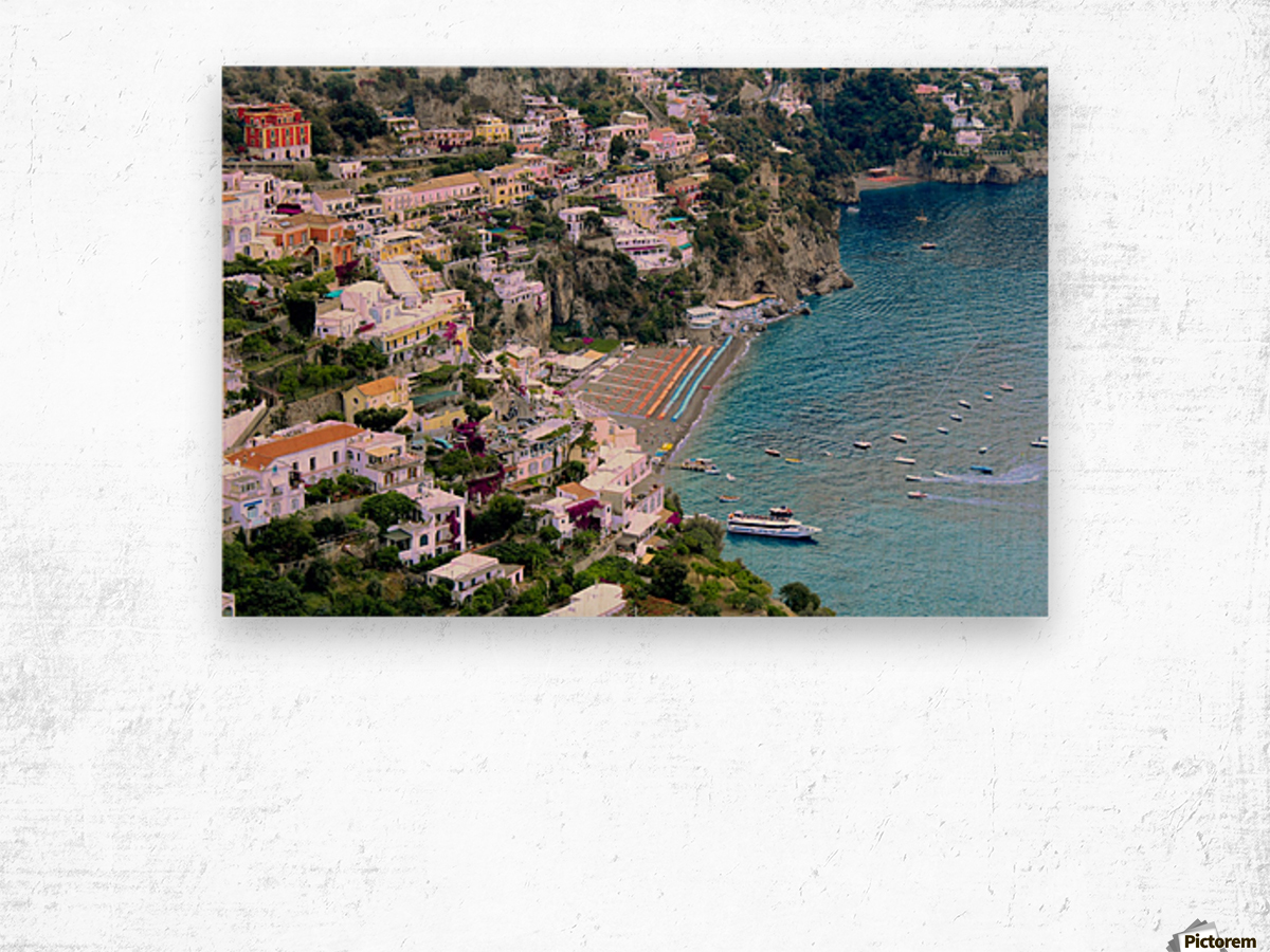 Aerial view of Positano Beach - Italy Wood print