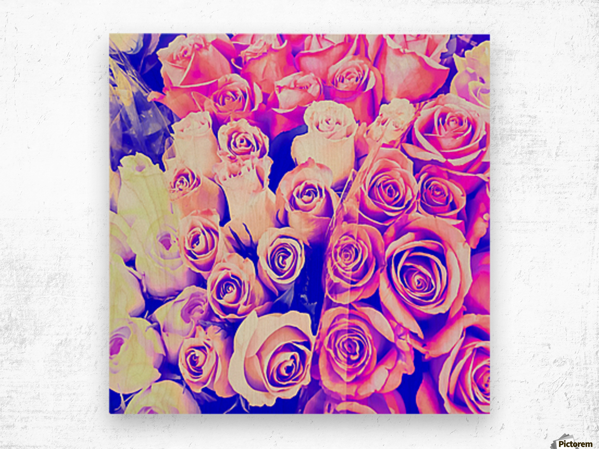 bouquet of roses texture pattern abstract in pink and purple Wood print