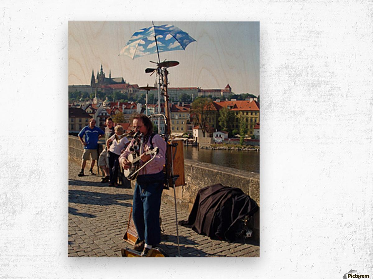 Charles Bridge Prague Street Musician Wood print