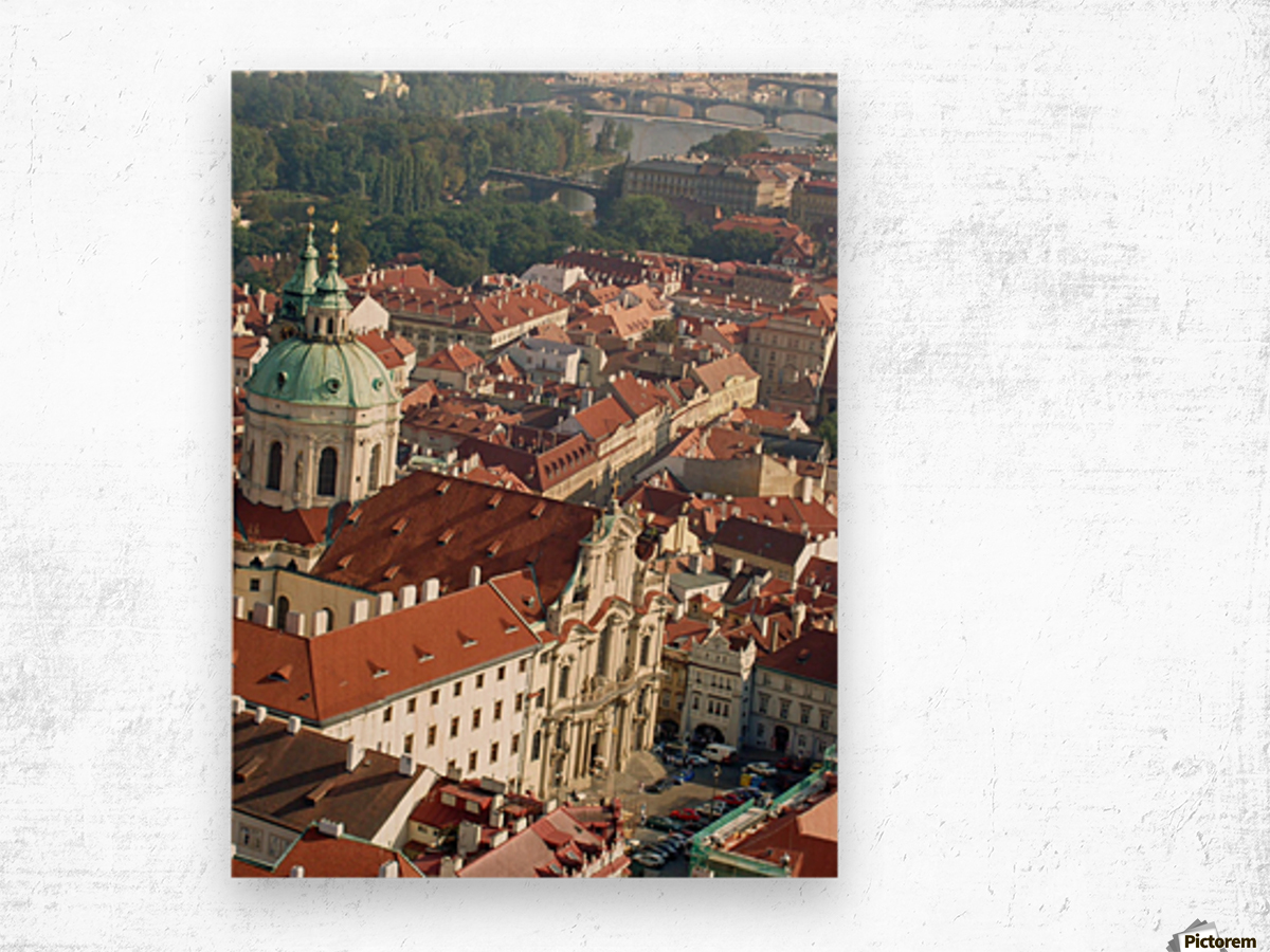 Looking Down on Prague Wood print