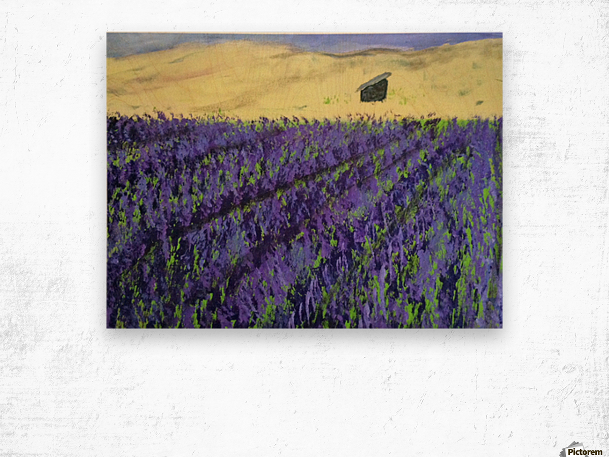 Purple Lavender fields painting Wood print