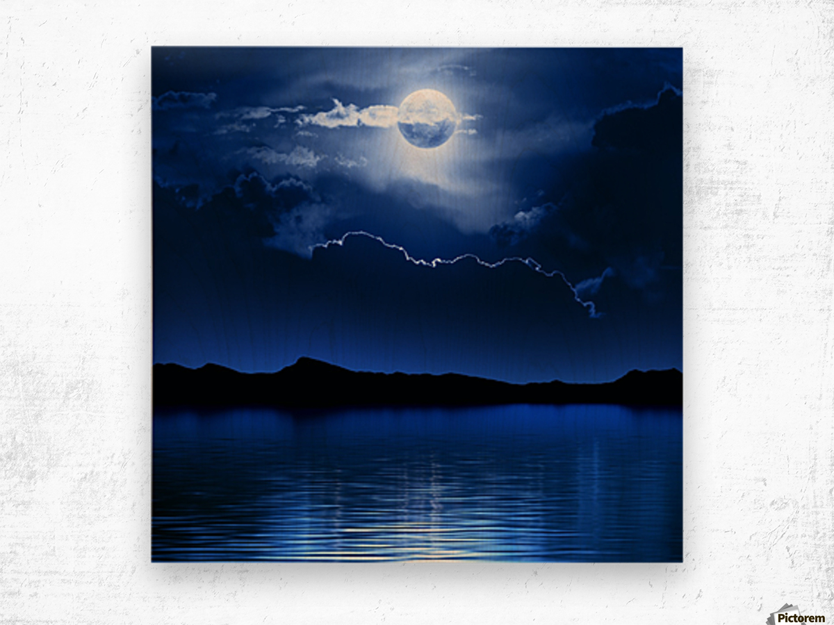 Fantasy Moon and Clouds over water Wood print