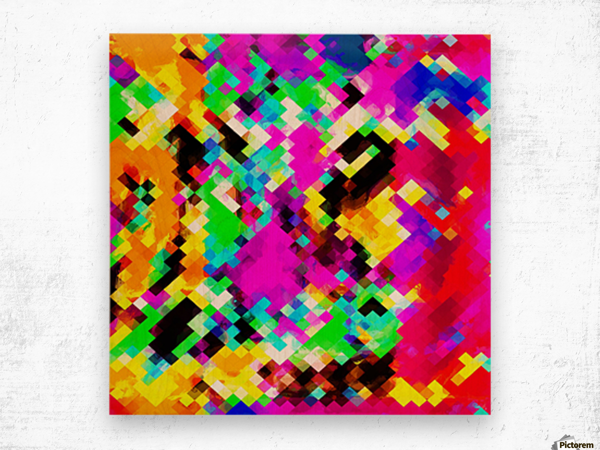psychedelic geometric pixel abstract pattern in pink purple blue green yellow Wood print