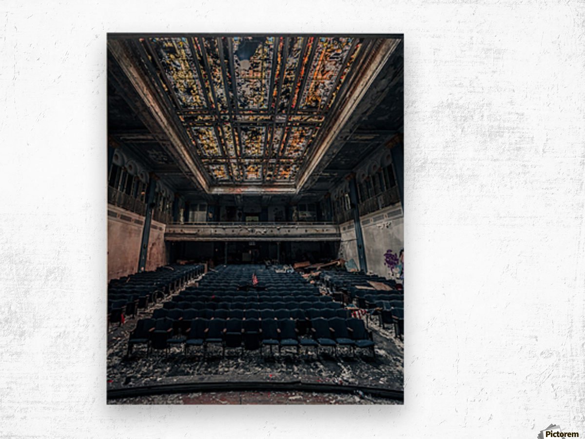 Decaying Blue Auditorium Wood print