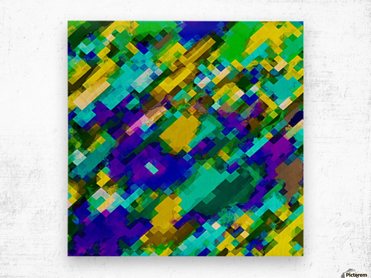 psychedelic geometric square pixel pattern abstract in green yellow blue purple Wood print