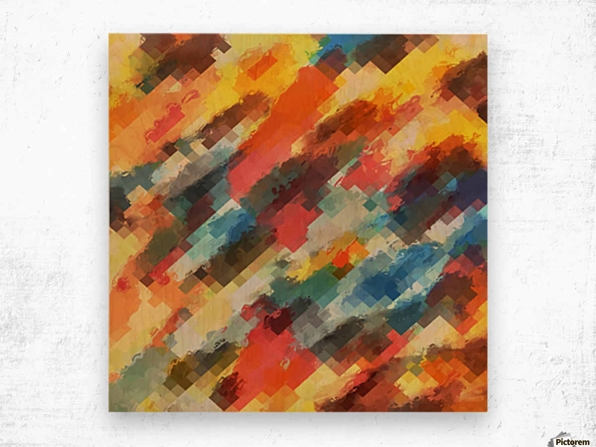 psychedelic camouflage geometric pixel square pattern abstract in orange yellow blue Wood print