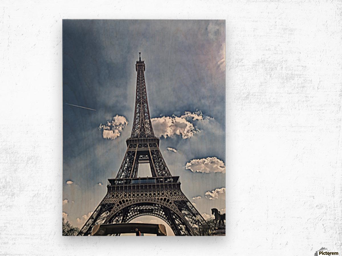 Sky & Eiffel Wood print