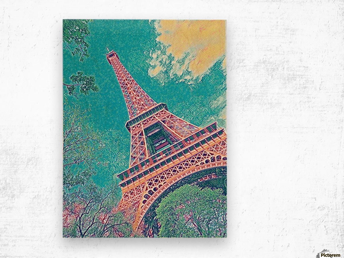 Eiffel Tower- Teal Wood print