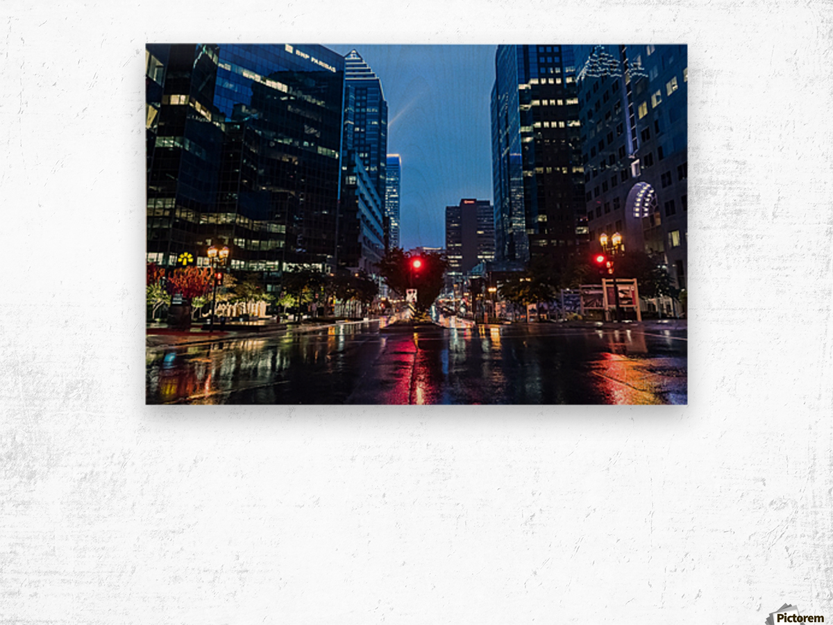 Pluie au centre ville Wood print