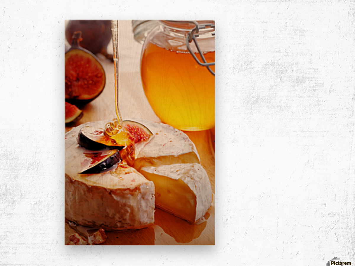 Brie Cheese with Figs and honey Wood print