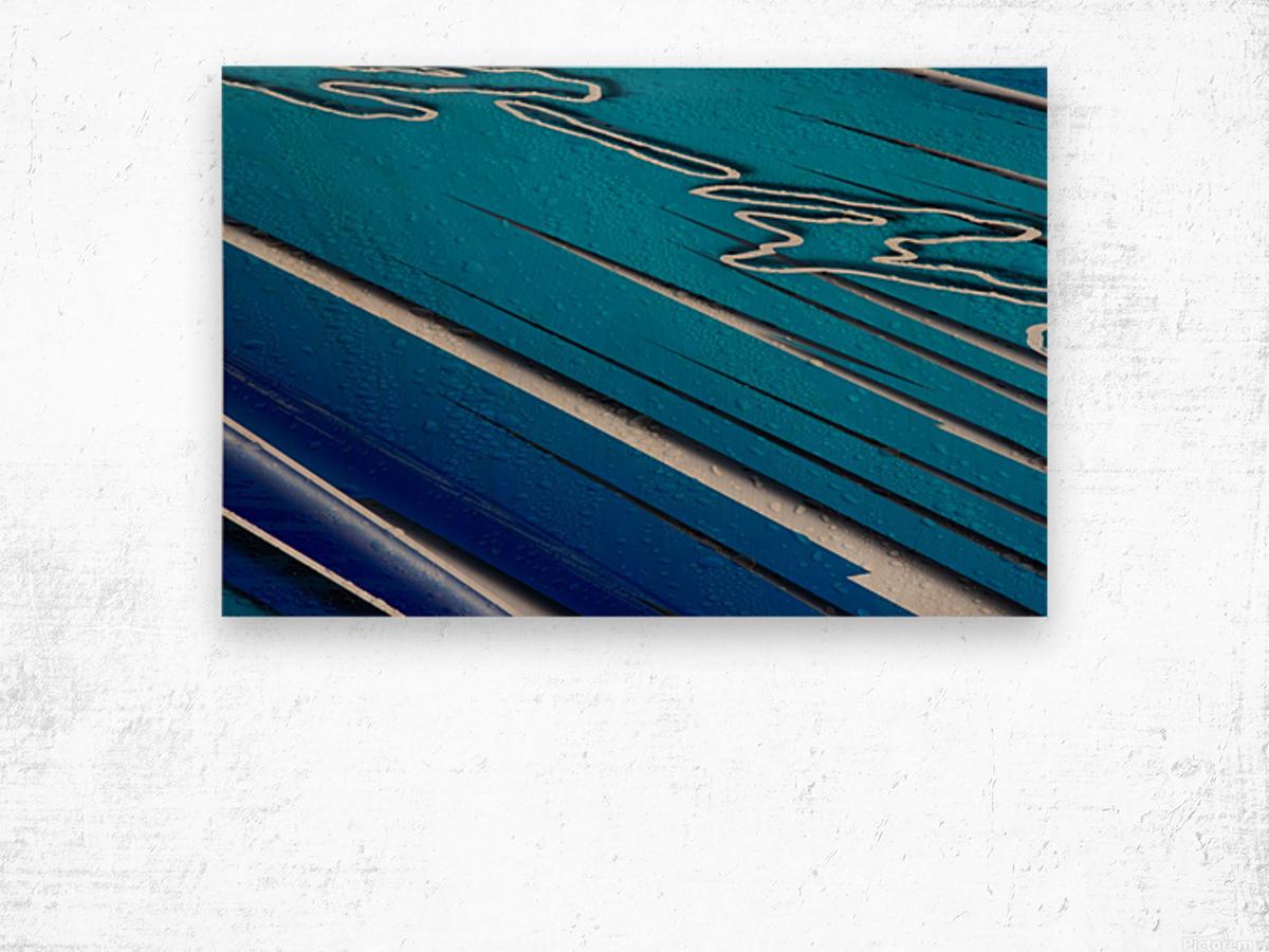 Diagonally Blue Wood print