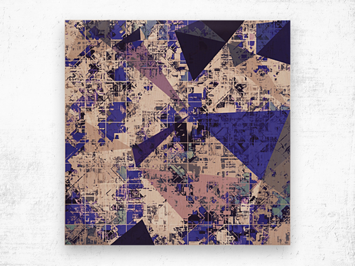 psychedelic geometric triangle polygon pattern abstract in blue and pink Wood print