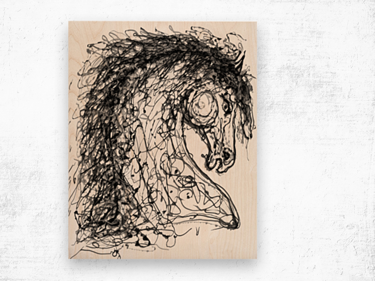 ''Horse''  Inspired by Dripped Abstract Pollock Style  Wood print