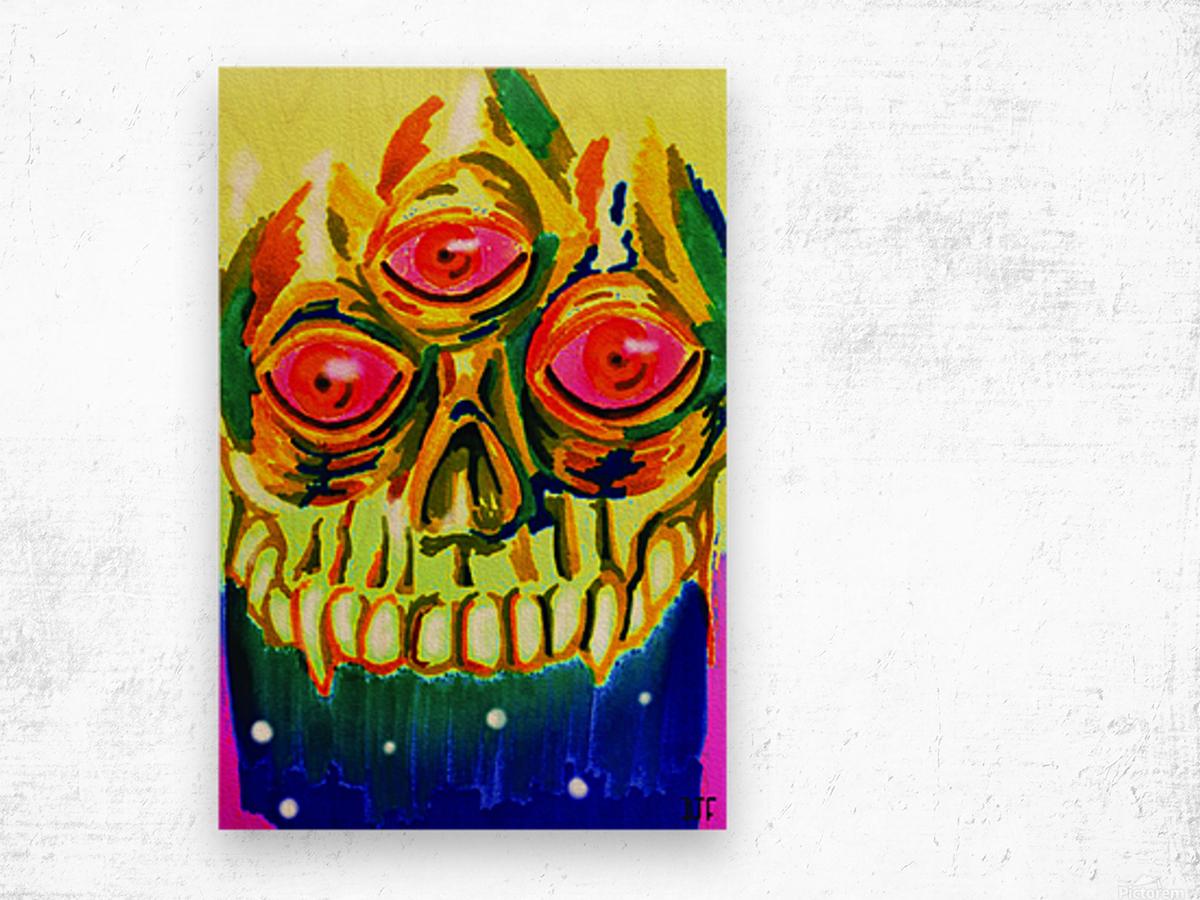 Three eyed skull painting Wood print