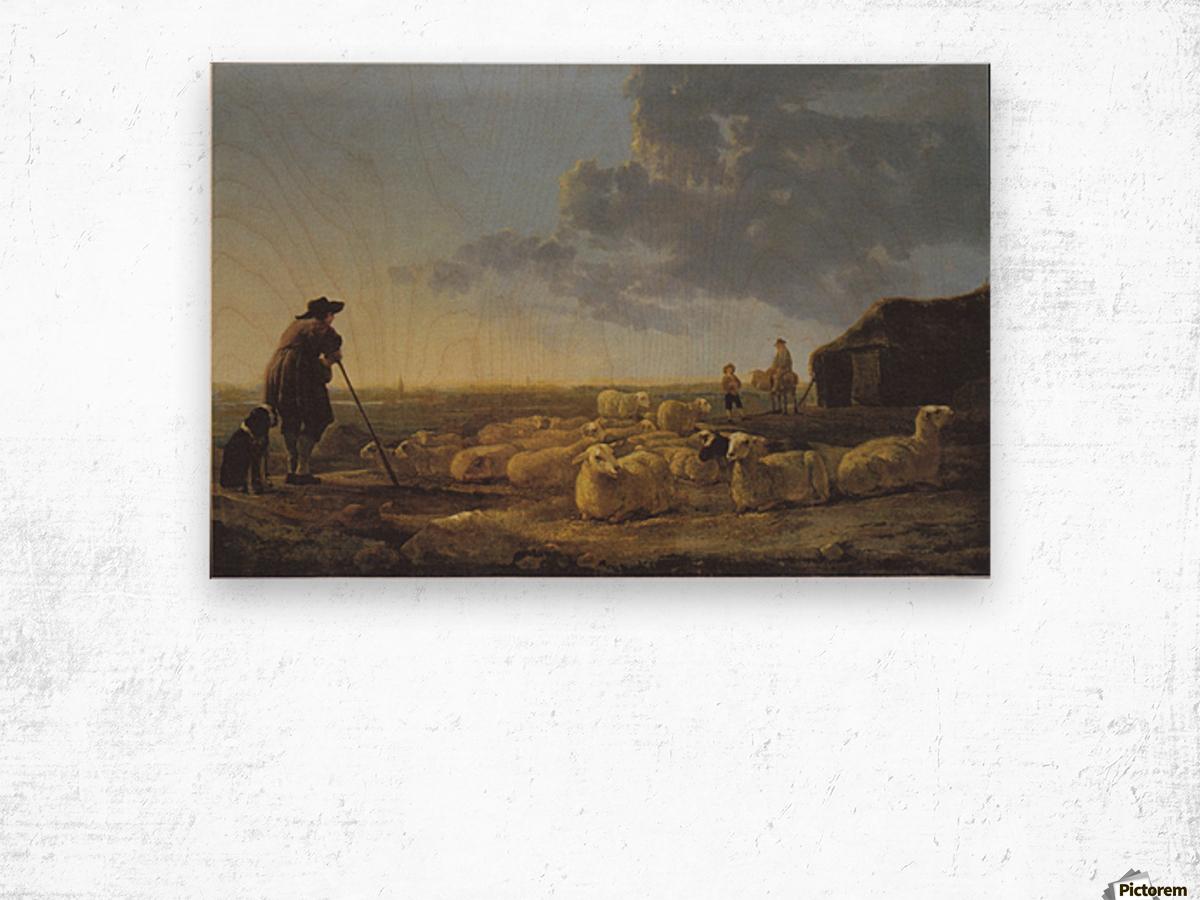 Schafherde auf der Weide Wood print