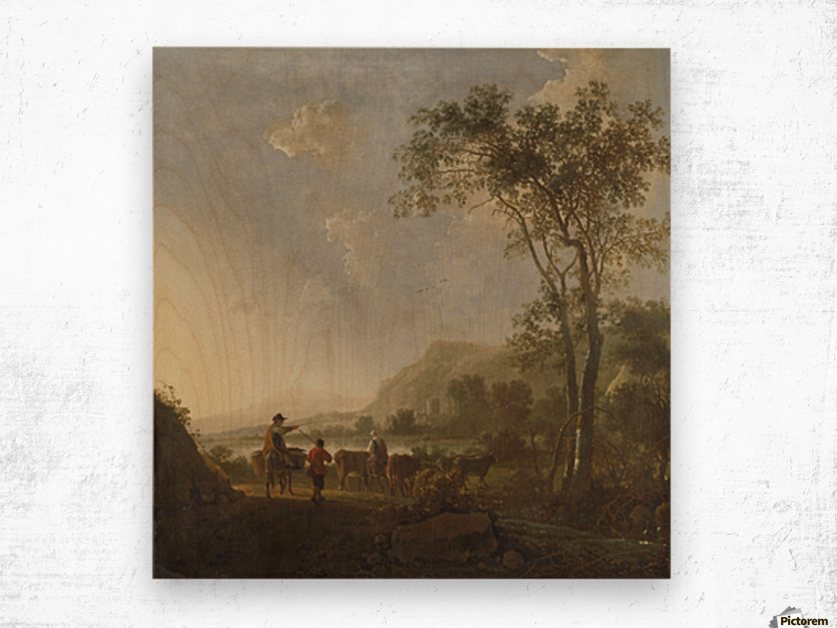 Landscape with herdsman and cattle Wood print