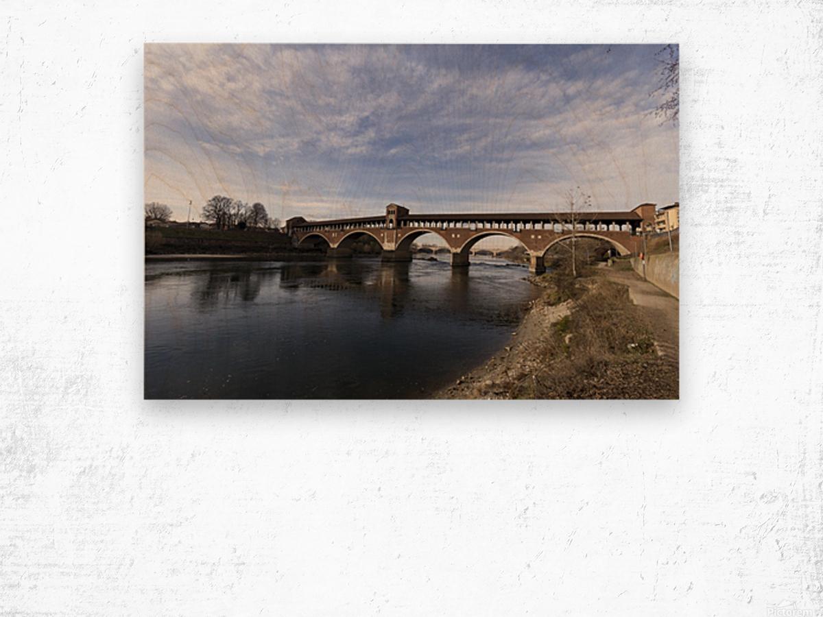 Pavia - Il Ponte coperto Wood print